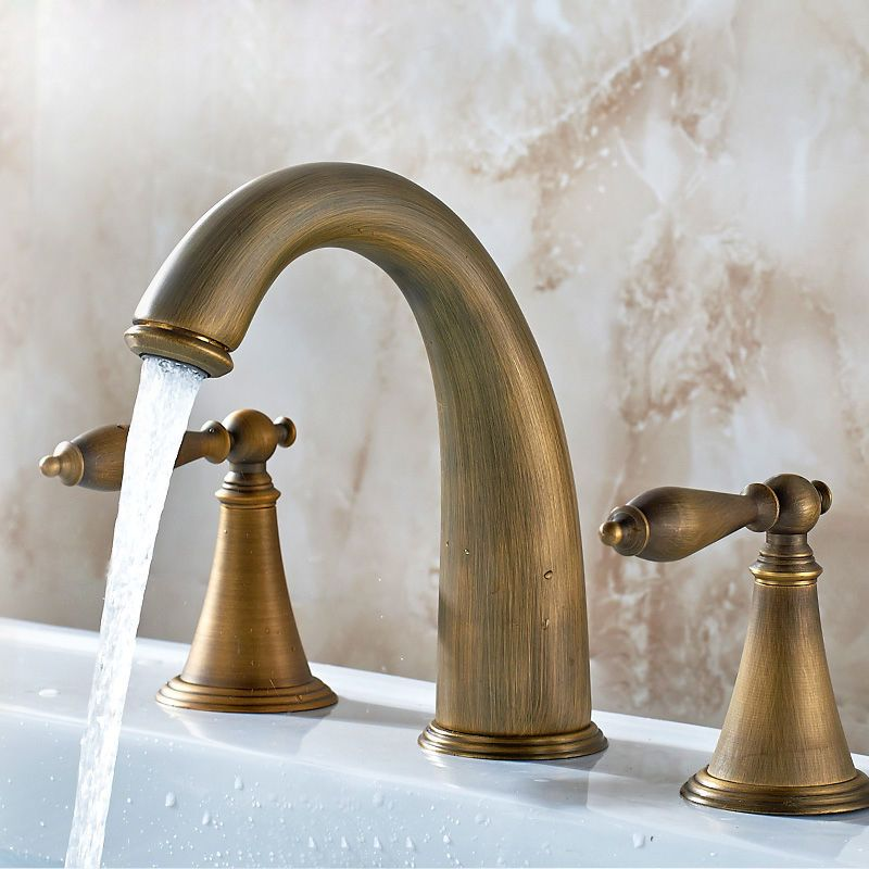 Modern Antique Brass 3 Hole Bathroom Basin Mixer Sink Faucets Taps