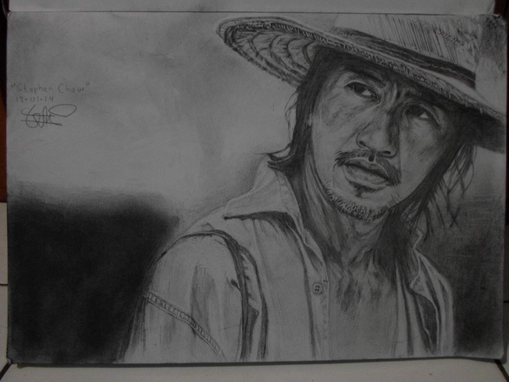 """""""Steven Chow"""" pencil on A3 paper"""