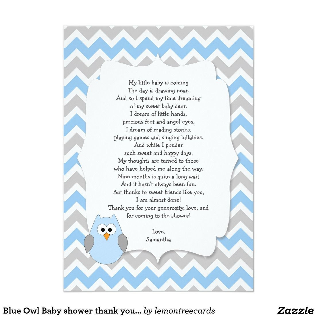 blue owl baby shower thank you notes with poem