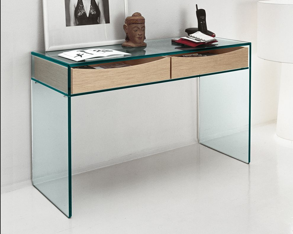 Gulliver Glass Console Table suits a pull out office desk Thick 15