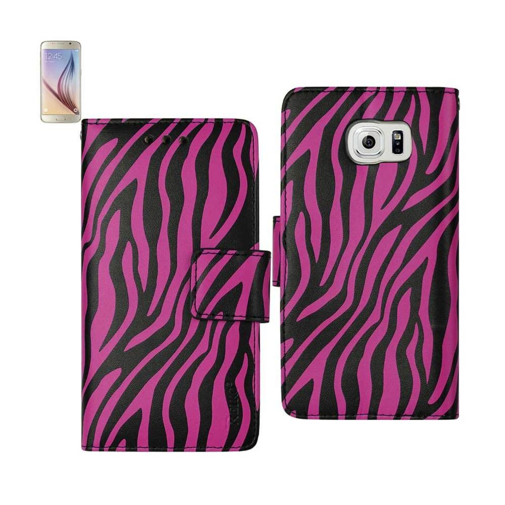 Reiko Wallet Case 3 In 1 For Samsung Galaxy S6/ G925P/ G925A/ G925/ G925T/ G925R4 Zebra Pattern Hot Pink