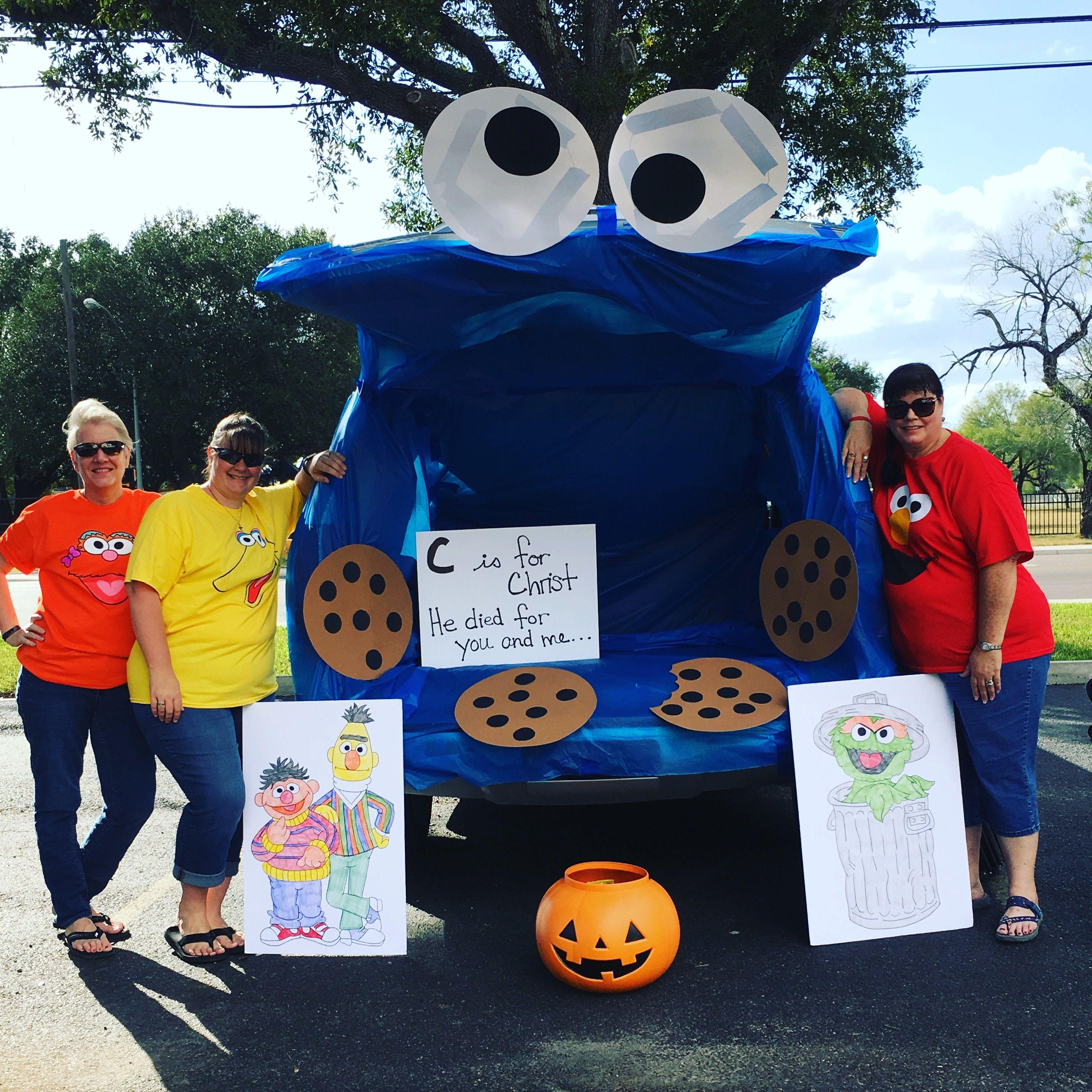 Monster Halloween Cookies: Cookie Monster/Sesame Street Trunk Or Treat