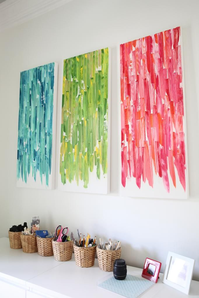 diy office art. Canvas, Paint \u0026 Flexible Knife To Create These Fun Pops Of Color. Diy Knife, Art Office P