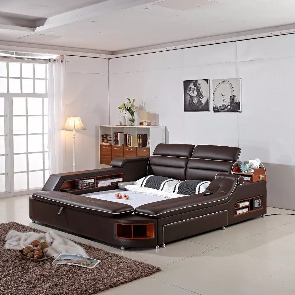 Real Genuine Leather Bed Frame Massage Soft Beds Home Bedroom