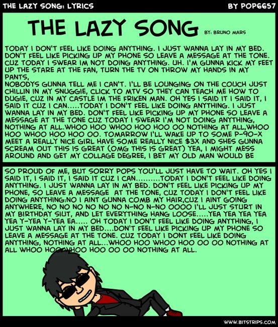 The Lazy Song Lyrics The Lazy Song Lyrics Bruno Mars Songs Songs