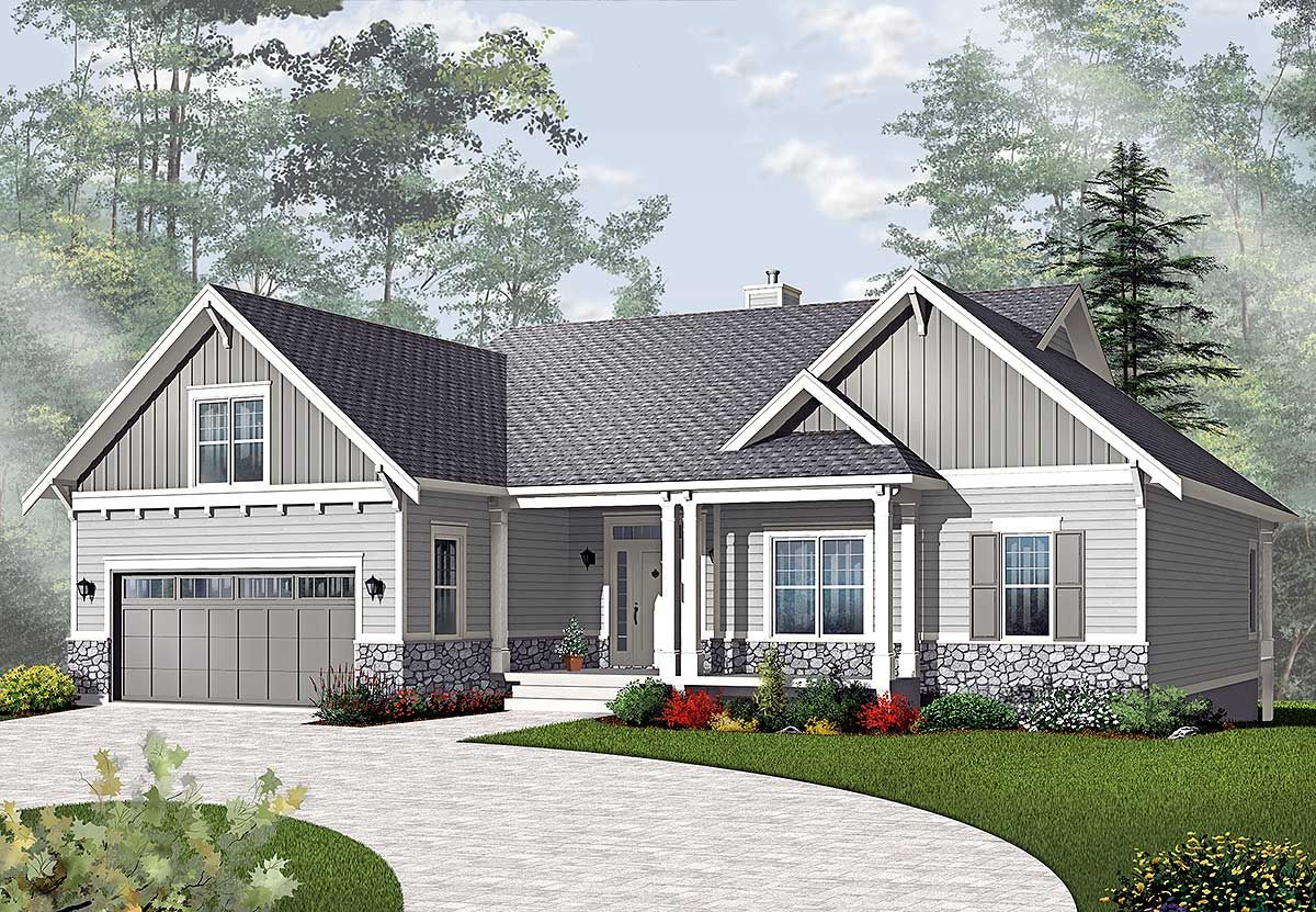 Plan 21940DR: Airy Craftsman-Style Ranch | Ranch house plans ... on
