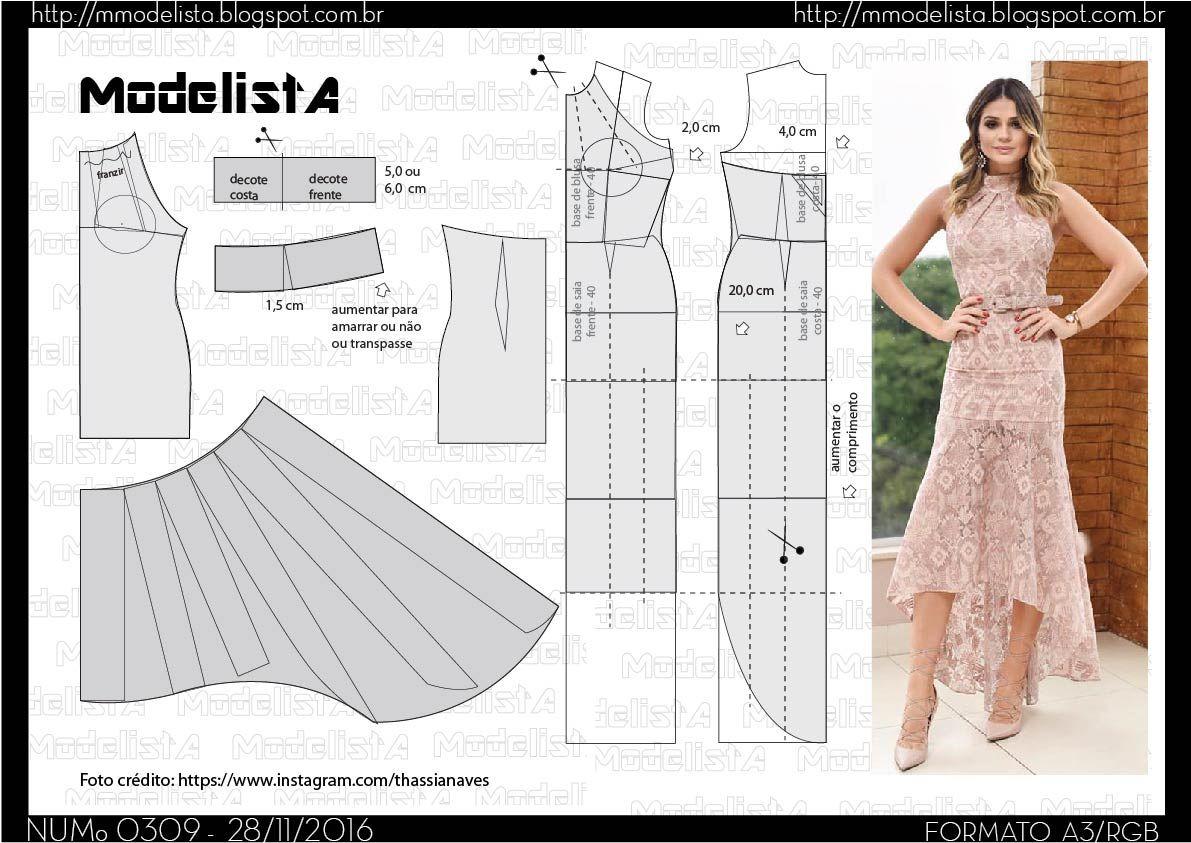 A3 NUMo 0309 MULLET DRESS | Costura, Molde y Patrones