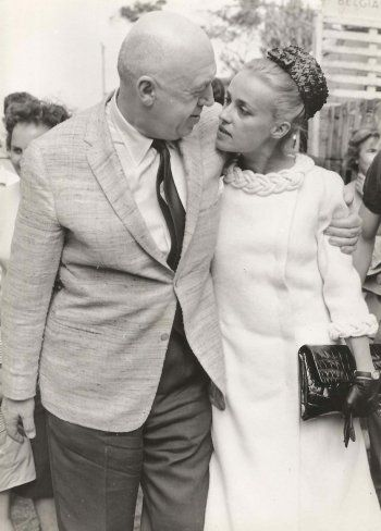 Otto Preminger and Jeanne Moreau in Cannes, 1962