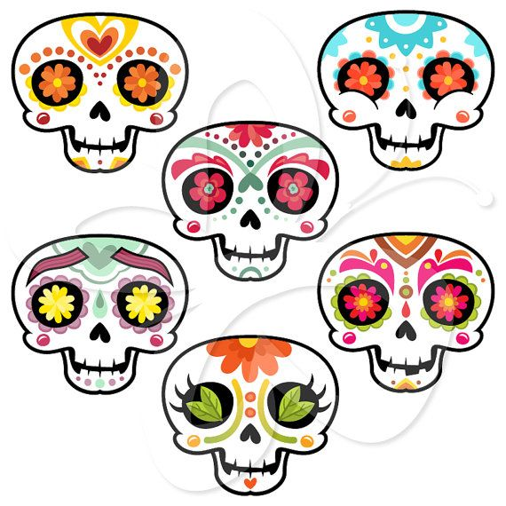 sugar skulls mexican day of the dead clip art clipart set personal rh pinterest com day of the dead clip art black and white day of the dead skull clipart