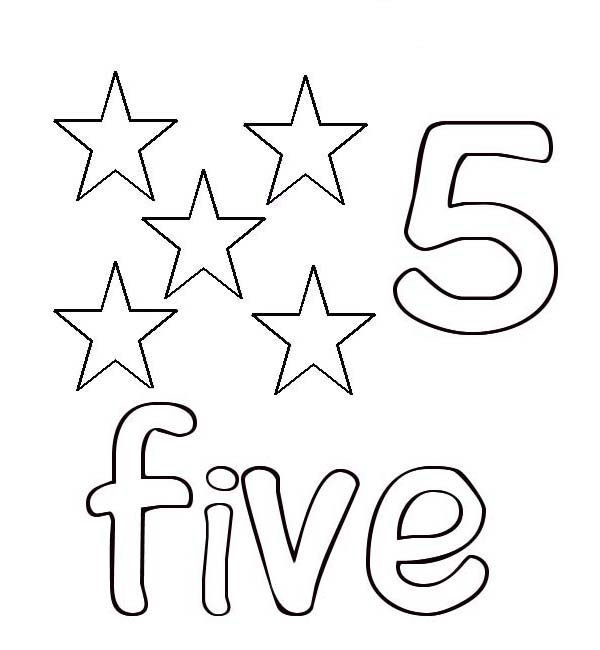 Learn Number 5 With Five Stars Coloring Page Bulk Color Star Coloring Pages Coloring Pages Coloring Pages Inspirational