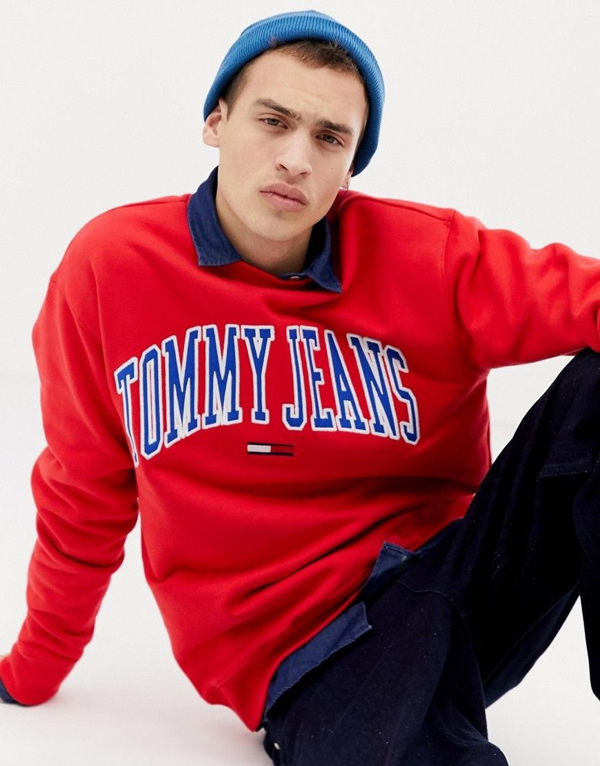 bb155f004 TOMMY JEANS RELAXED FIT COLLEGIATE CAPSULE SWEATSHIRT IN RED - RED. # tommyjeans #cloth