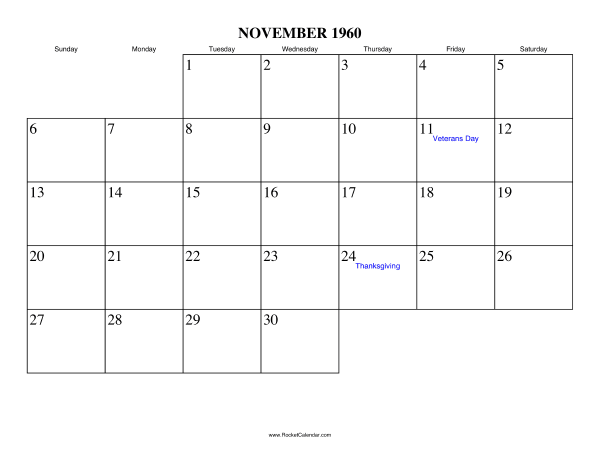 1960 Calendar.Free Printable Calendar For November 1960 View Online Or Print In