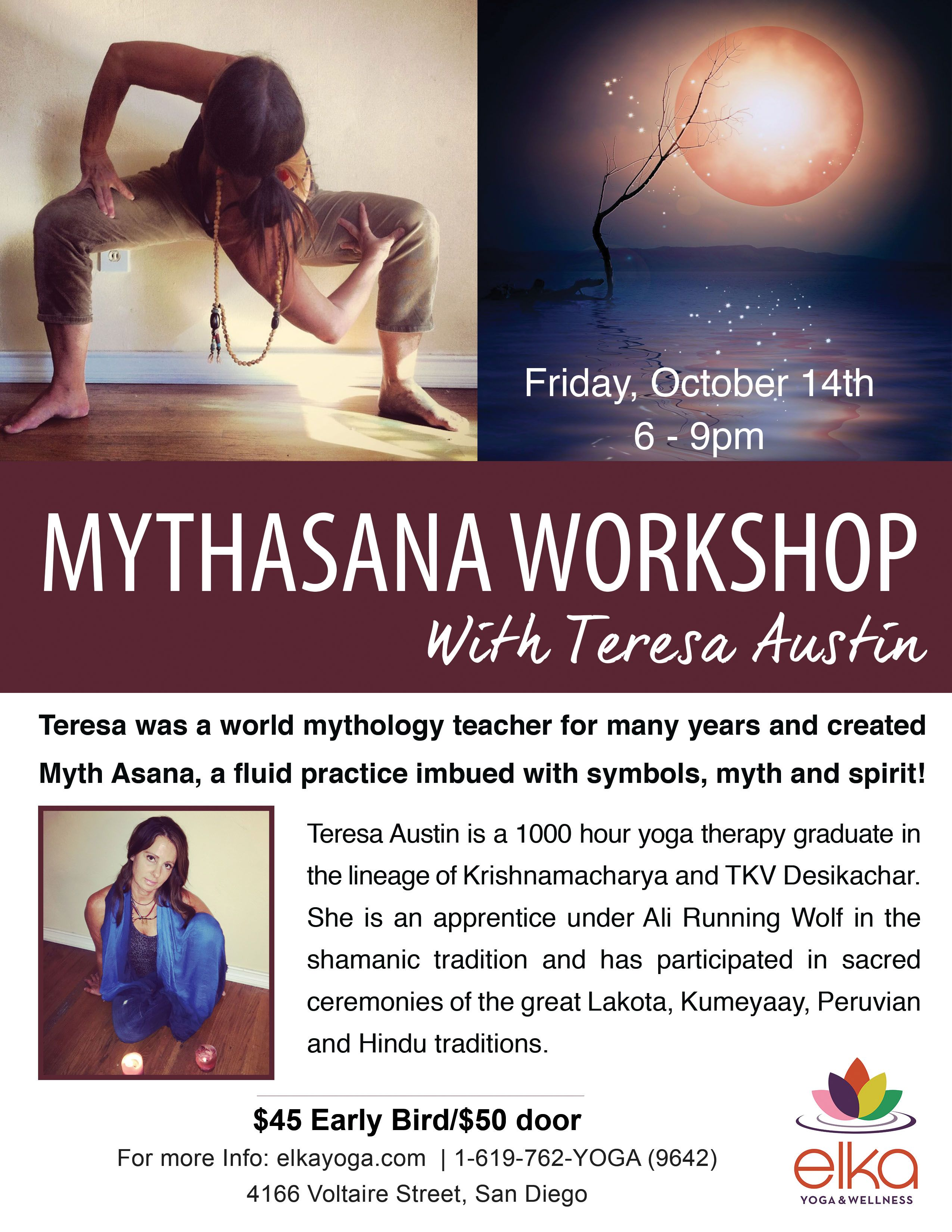 MythAsana Workshop Flyer Design By Camila Badaro Client Elka Yoga And Wellness