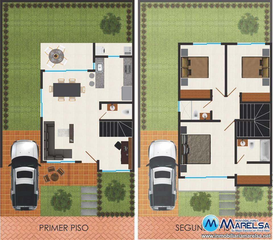 Casas conjunto de dos pisos planos google search casa for Plantas casas minimalistas