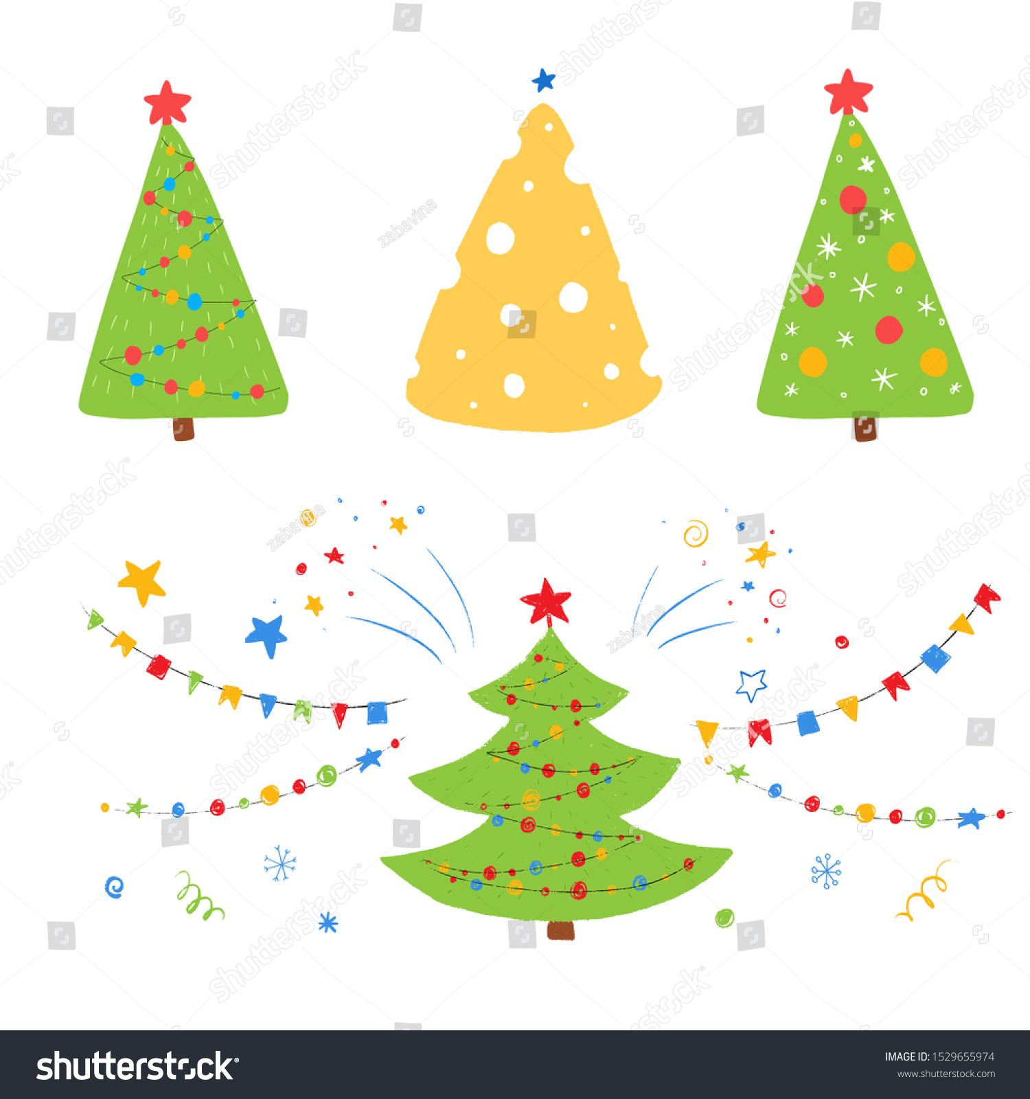 Christmas Tree Shaped Cheese Set Of Decorated Christmas Tree Vector Cartoon Holiday Illustration For K Holiday Illustrations New Years Background Tree Shapes