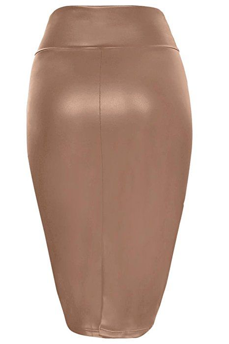 c03657e34f Faux Leather Pencil Skirt Below Knee Length Skirt Midi Bodycon Skirt Womens,  USA Mocha Leather Large