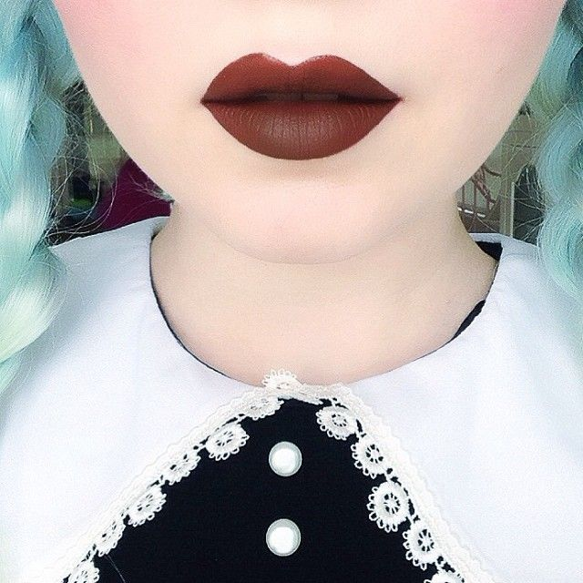 Salem Velvetine liquid matte lipstick, a matte chocolate brown.