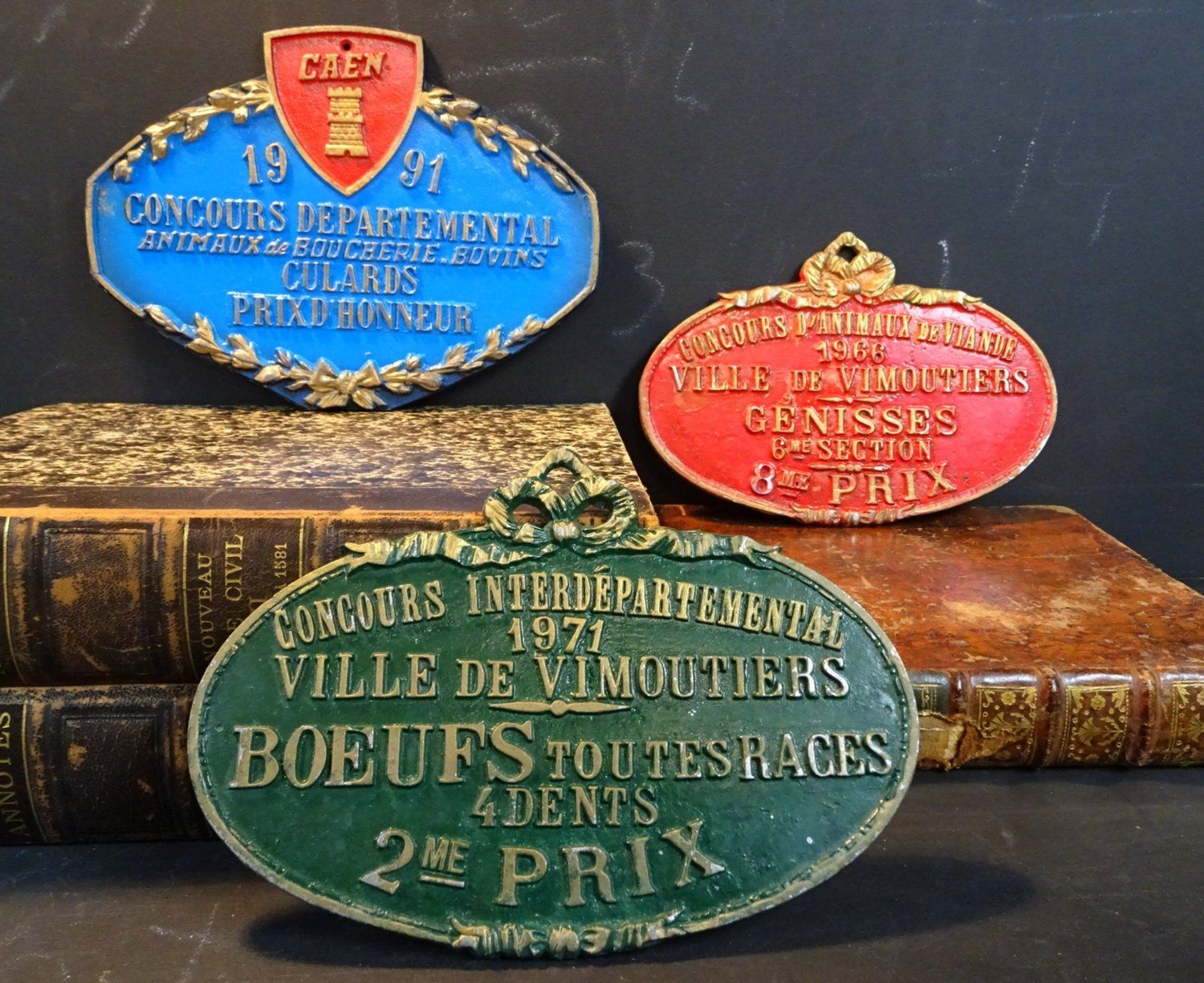 3 French Awards Wall Plaques Agricultural Wall Sign Country Decor