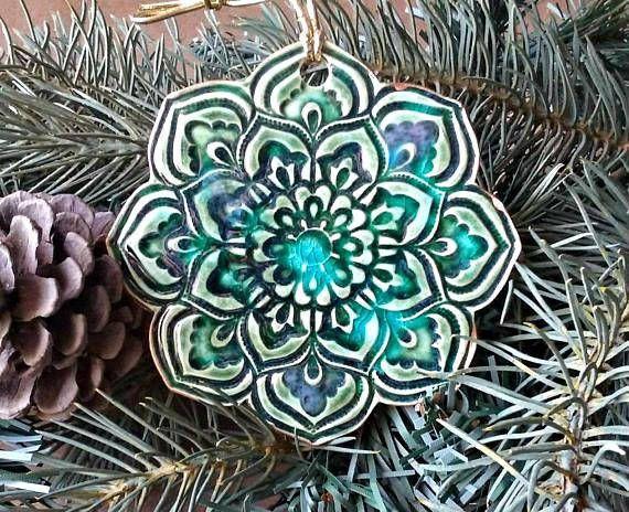 Ceramic lotus Christmas Ornaments Gold edged Peacock Green ...