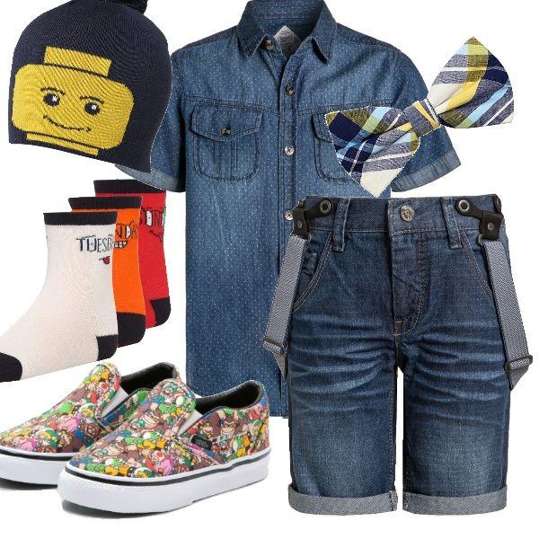 Tre anni, si diventa grandi e le stimolazioni dal mondo dei giochi non mancano! Un outfit per bimbi leader che punta soprattutto sugli accessori in tema videogames. Il jeans, intramontabile tessuto, adatto a vestire ogni età.