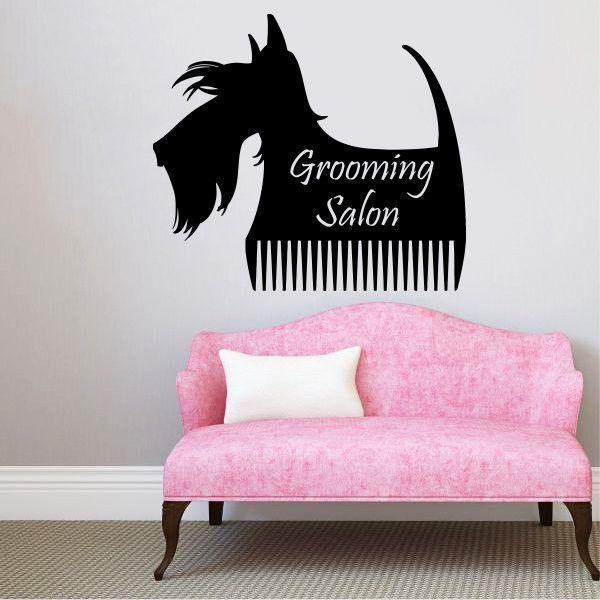Grooming Salon Wall Decal Pet Shop Vinyl Sticker Decals Dog Comb - Custom vinyl wall decals dogs