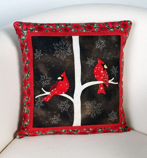 """""""Midwinter Night Pillow"""" by Wendy Sheppard (from The Quilter Quilting for Christmas Holiday 2012 issue)"""