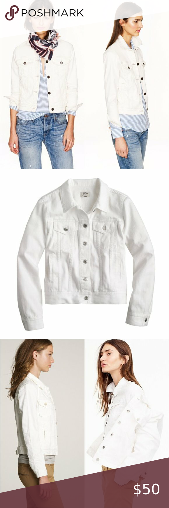 J Crew Faded White Denim Button Jean Jacket Chic Clothing Style Vintage Denim Jacket Light Wash Denim Jacket [ 1740 x 580 Pixel ]