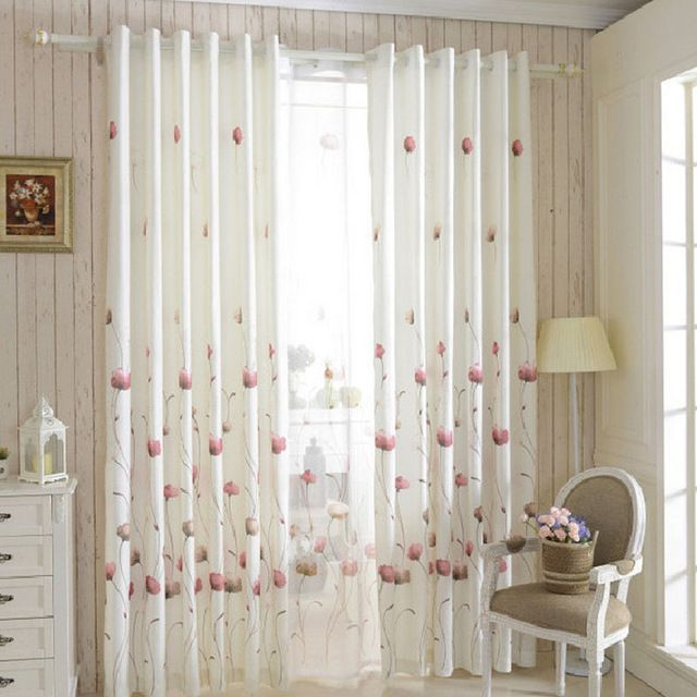 Organza Curtains Cortinas Cocina Window Curtain For Bedroom