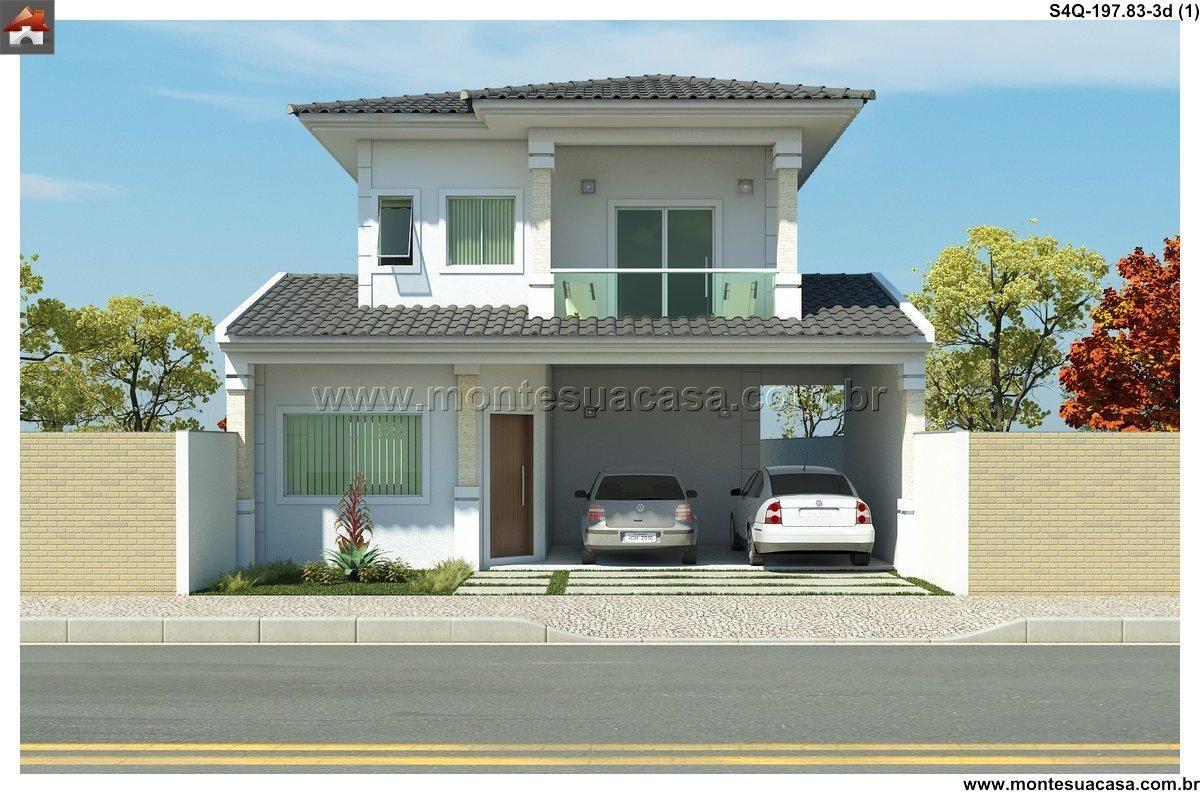Sobrado 4 quartos projetos prontos for Fachadas de casas 1 planta