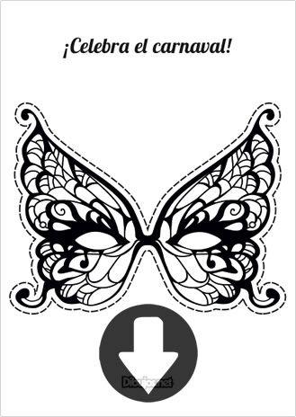 Máscara de Carnaval Mariposa para imprimir y colorear | Máscaras de ...