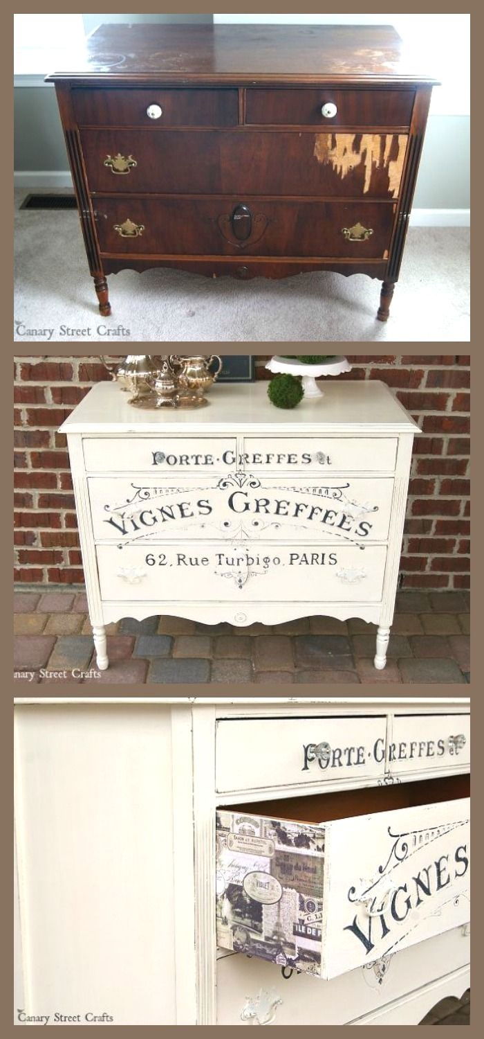 Shabby Chic Furniture Sale Cheap: French Graphic Painted Dresser More
