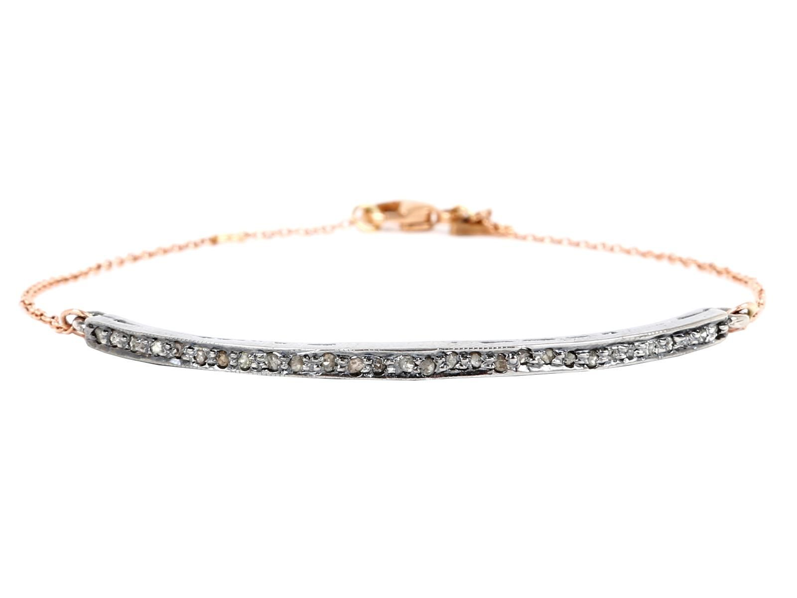 Long, lithe, and lean, like a graceful dancer theMercer Bracelet adorns your hand with effortless elegance with a silver bar crafted from 925 rhodium featuring .35 carats of champagne diamonds.