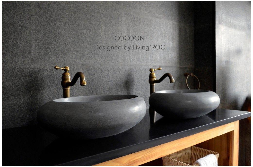 Stone Bowl Sinks Bathroom. Angled Flow Rectangular Natural Stone ...