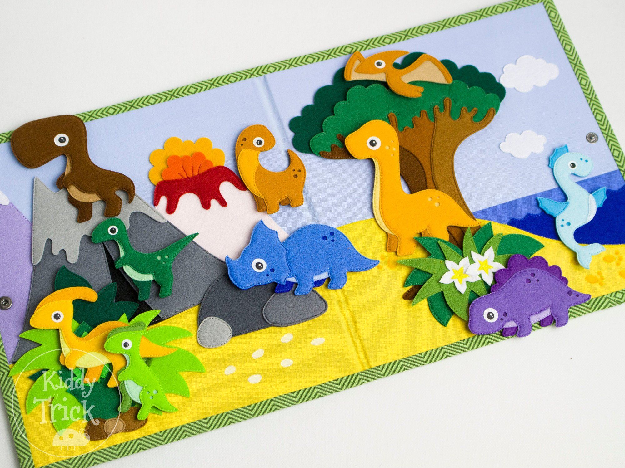 Dinosaur Quiet Book Felt Dinosaur Quiet Book Page Felt Play Mat Counting Toy Busy Book Toddler Game Quiet Game Educational Toy Felt Play Mat Busy Book Toddler Books