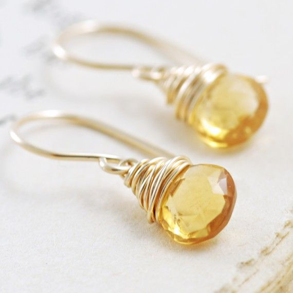 Citrine Earrings Wrapped in 14k Gold Fill, Yellow Gemstone Earrings, Handmade, aubepine
