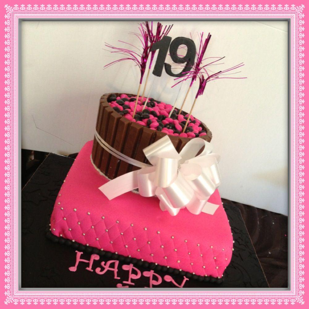 Fun 19th Birthday cake. Kit Kit cake. Fancy Treats