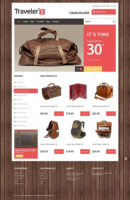 Template 48526 - Travel Products Responsive Jigoshop Theme