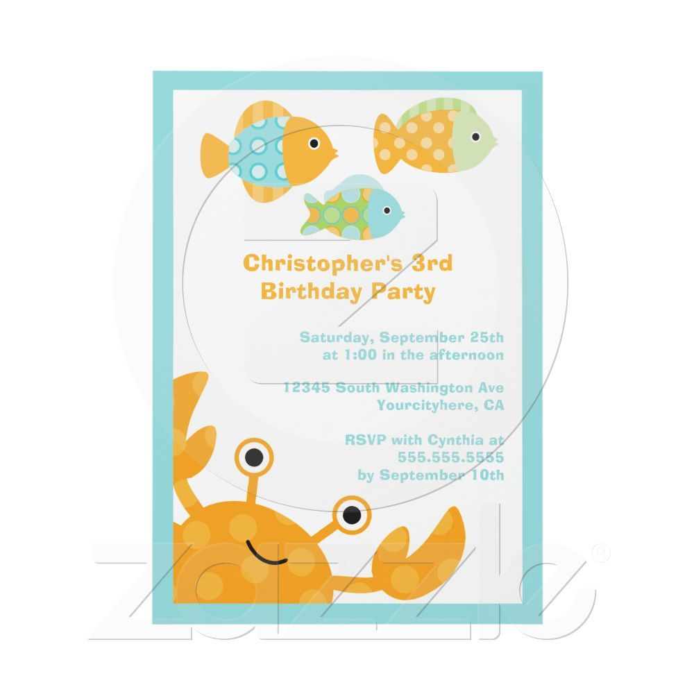Fun cute under the sea birthday party invitation ms analise