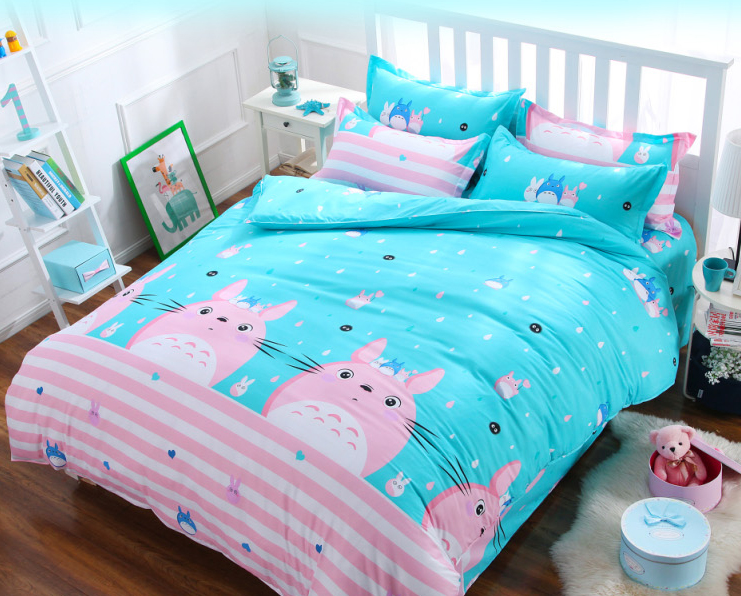 Cute Cartoon Cat Bed Sheet Set 4 Pieces   Thumbnail 1