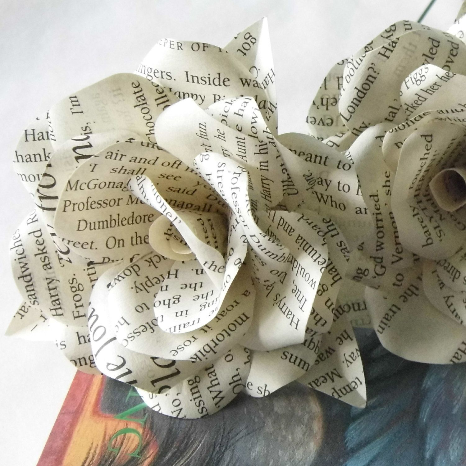 6 x harry potter paper roses book page paper flower roses 6 x harry potter paper roses book page paper flower roses handmade paper roses dhlflorist Image collections