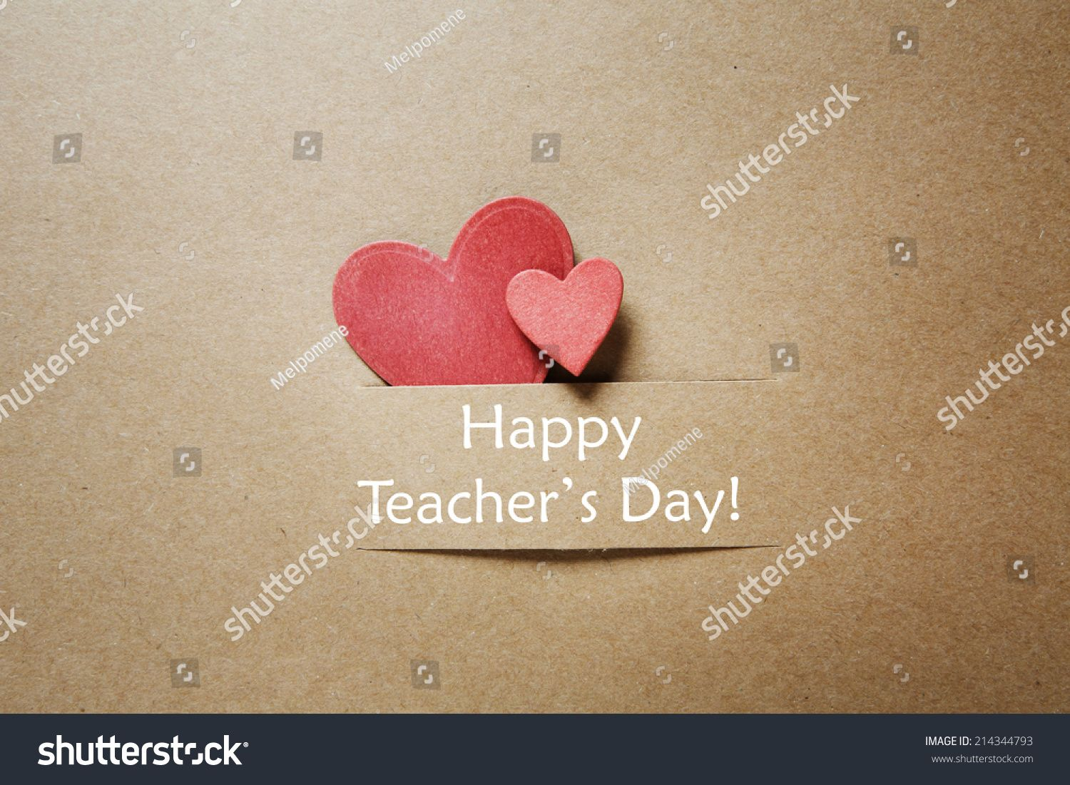 Hand Crafted Teacher S Day Greeting Card With Little Red Heats Teachers Day Greetings Teachers Day Greeting Card Happy Teachers Day