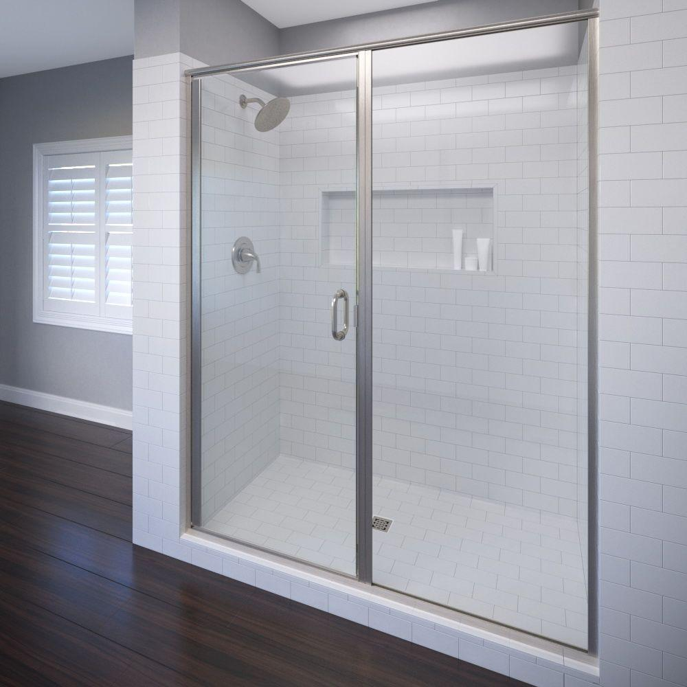 semi frameless shower doors. Basco Infinity 58 In. X 72-1/8 Semi-Frameless Hinged Shower Door In Brushed Nickel With AquaglideXP Clear Glass Semi Frameless Doors