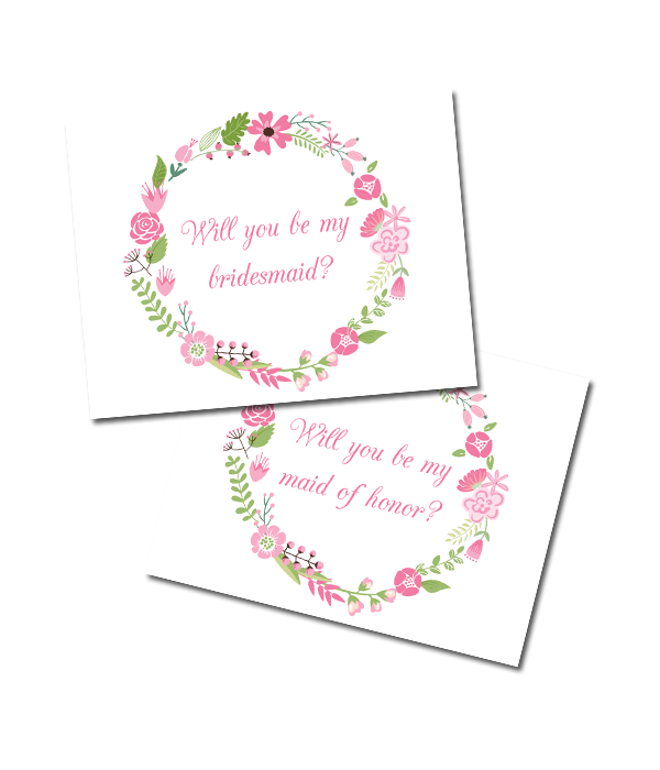 Free Printable Floral Bridesmaid Cards | @chicfettiwed #freeprintable #wedding