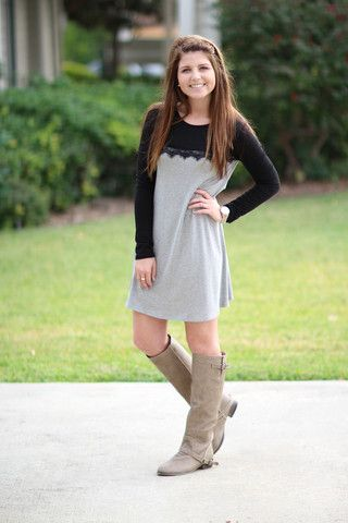 Take a Look Lace Top Dress - Black and Grey