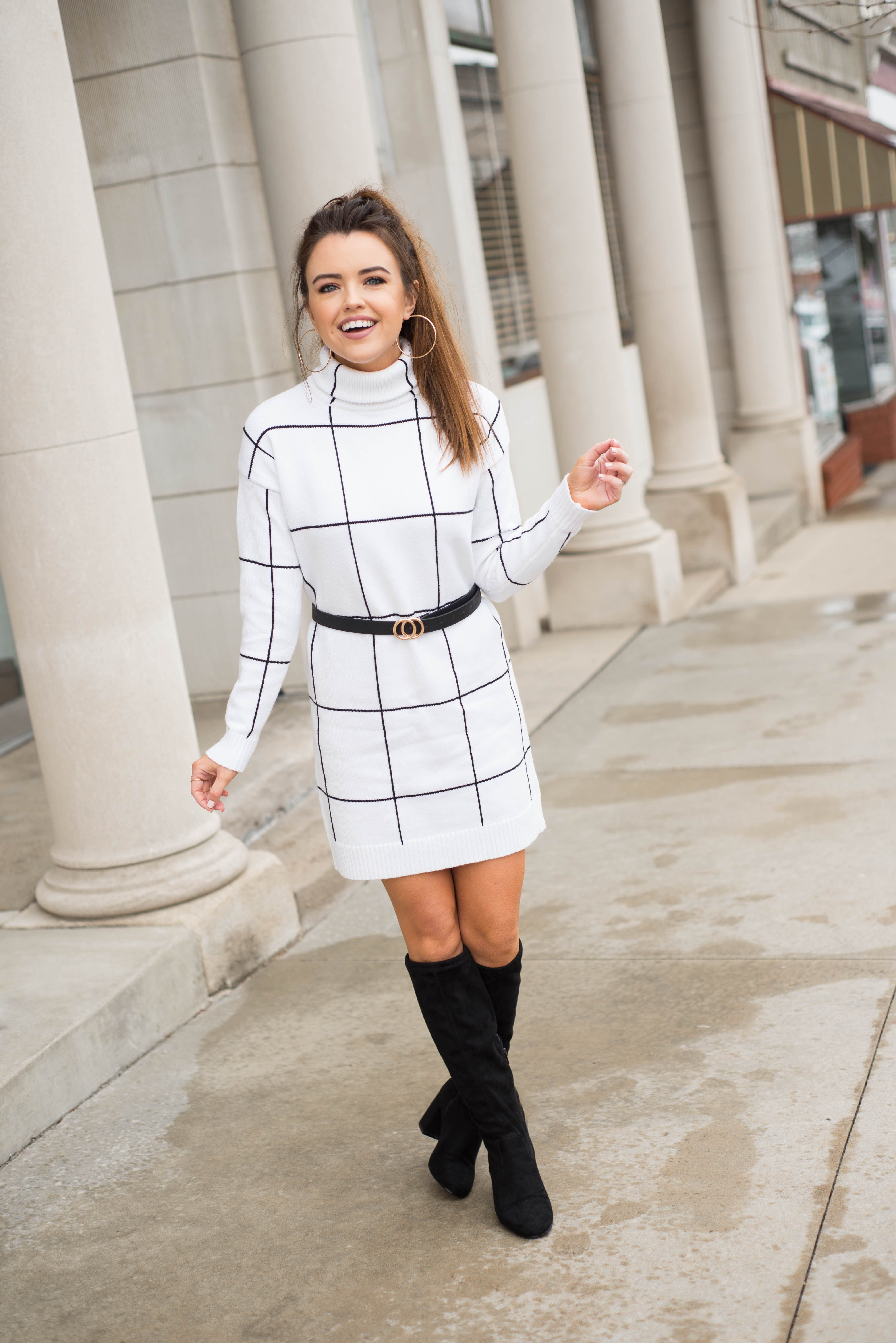 Classic White Grid Sweater Dress Sweater Dress Boots Sweater Dress Fashion Outfits [ 6016 x 4016 Pixel ]