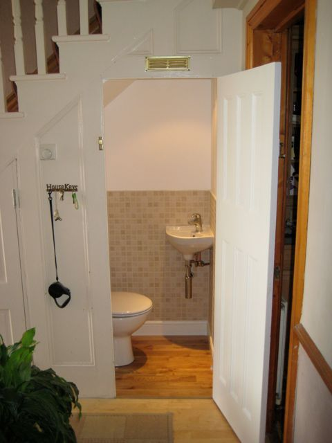 Understairs Toilet And Sink Completed Bathroom Under Stairs   Under Stair Toilet Design   Toilet Separate   Small   Powder Room   Down   Minimalist
