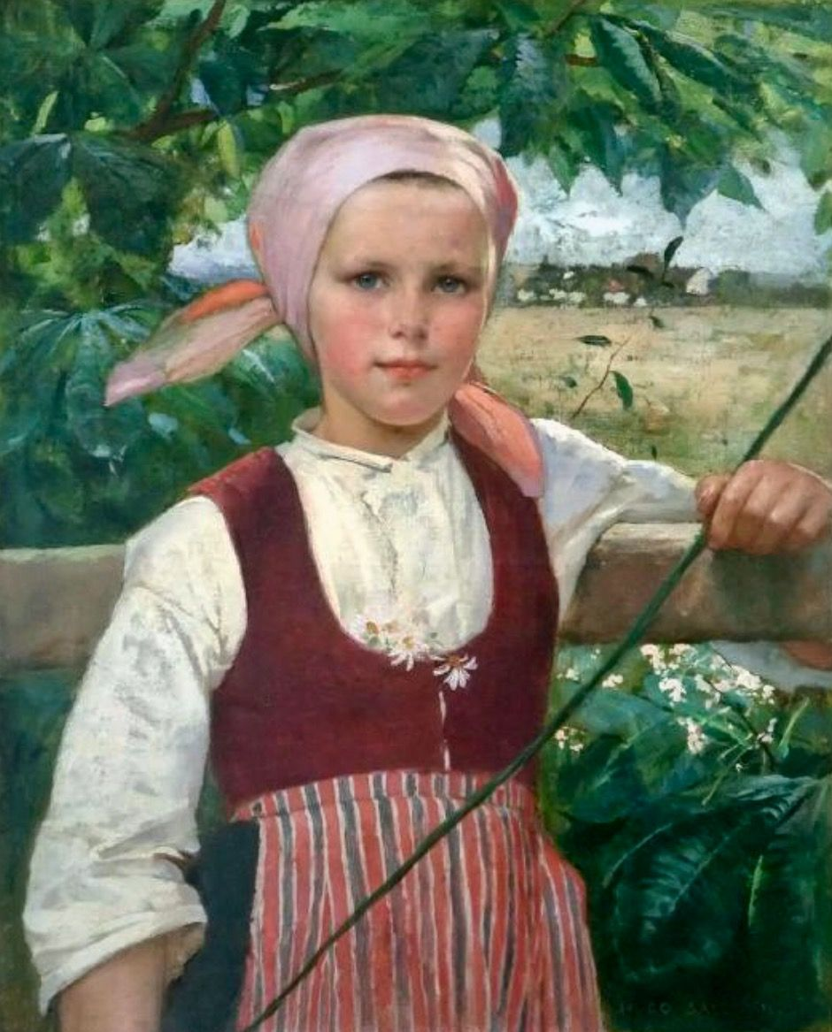 Young Swedish Girl 19th Century Hugo Salmson Swedish Oil On Canvas Private Collection Swedish Girls Kids Portraits Portrait Girl