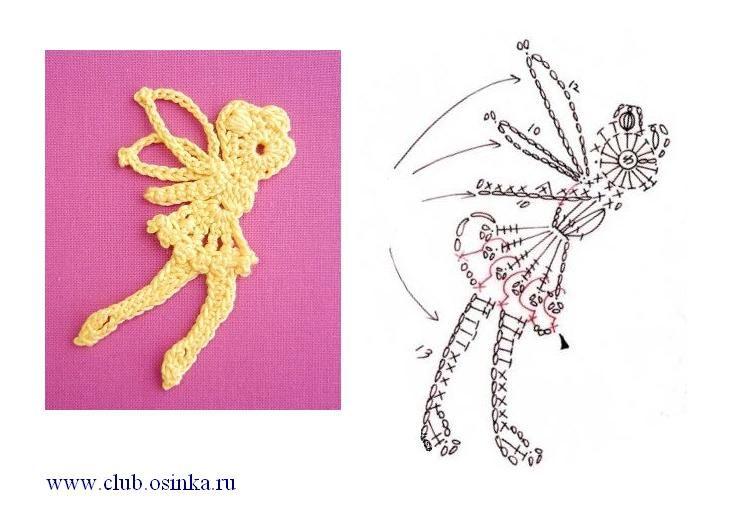 tinkerbell crochet fairy   Patrones   Pinterest   Apliques y Patrones