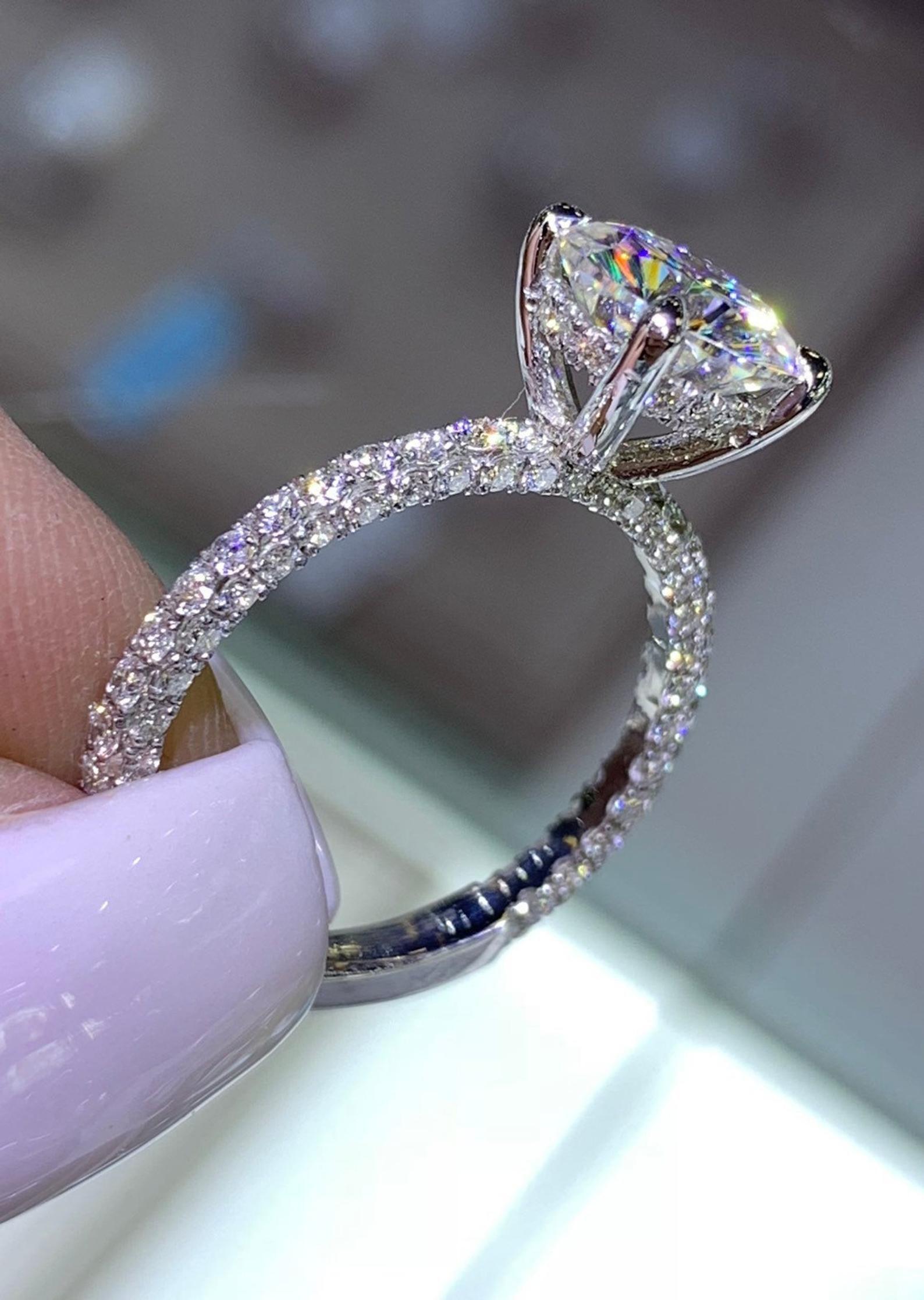 14 Karat White Gold Diamond Under Halo Wedding Ring W Round Etsy Dream Engagement Rings Wedding Rings Halo Wedding Rings Engagement