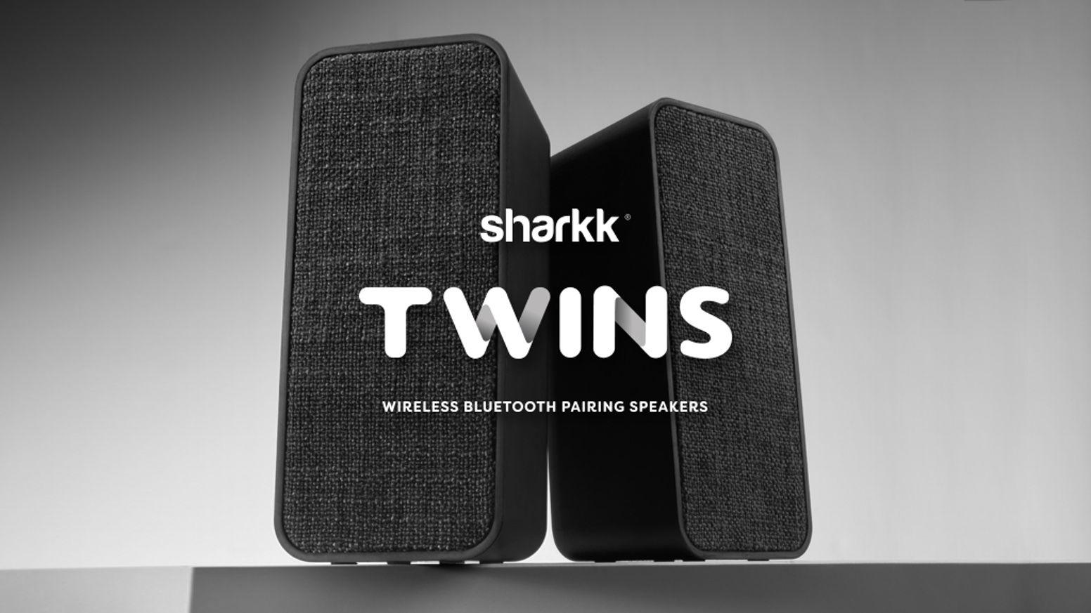 Twins Bluetooth Speaker Set Portable Stereo Sound By Sharkk Labs Kickstarter Wireless Blue Bluetooth Speaker Set Wireless Surround Sound Bluetooth Speaker